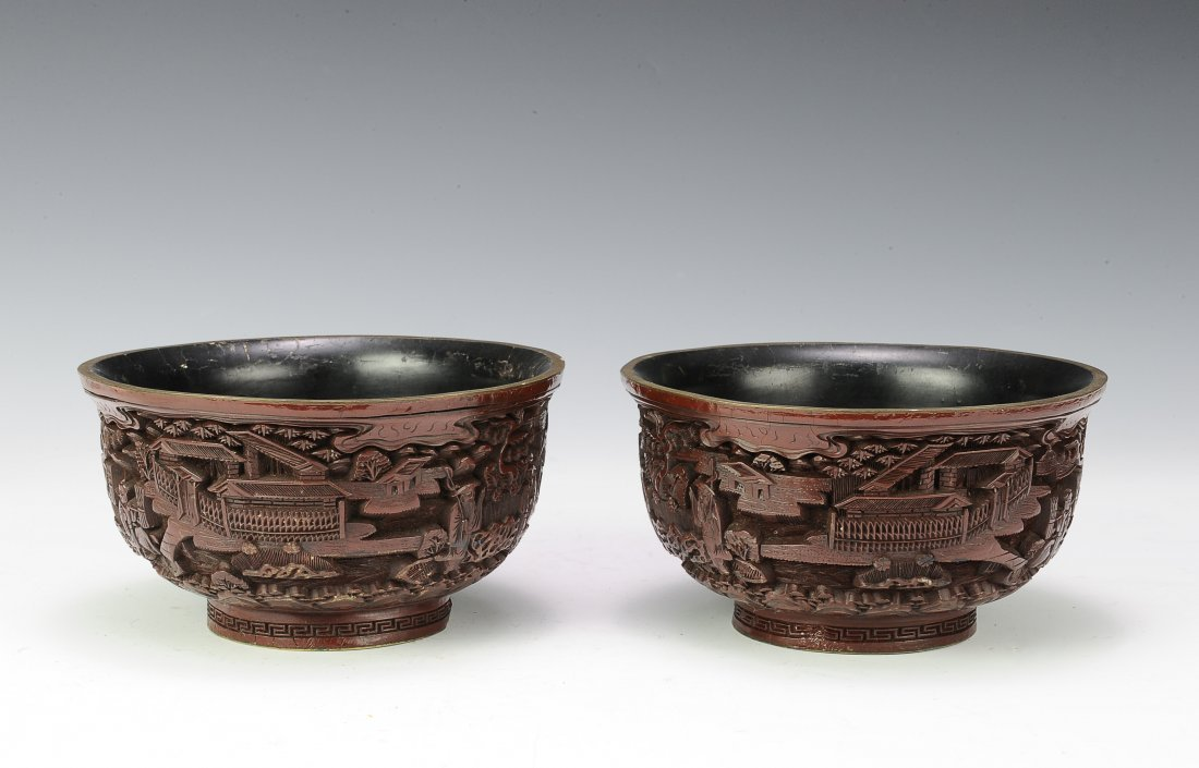 Pair of Cinnabar Bowls