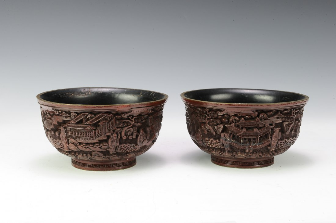 Pair of Cinnabar Bowls - 2