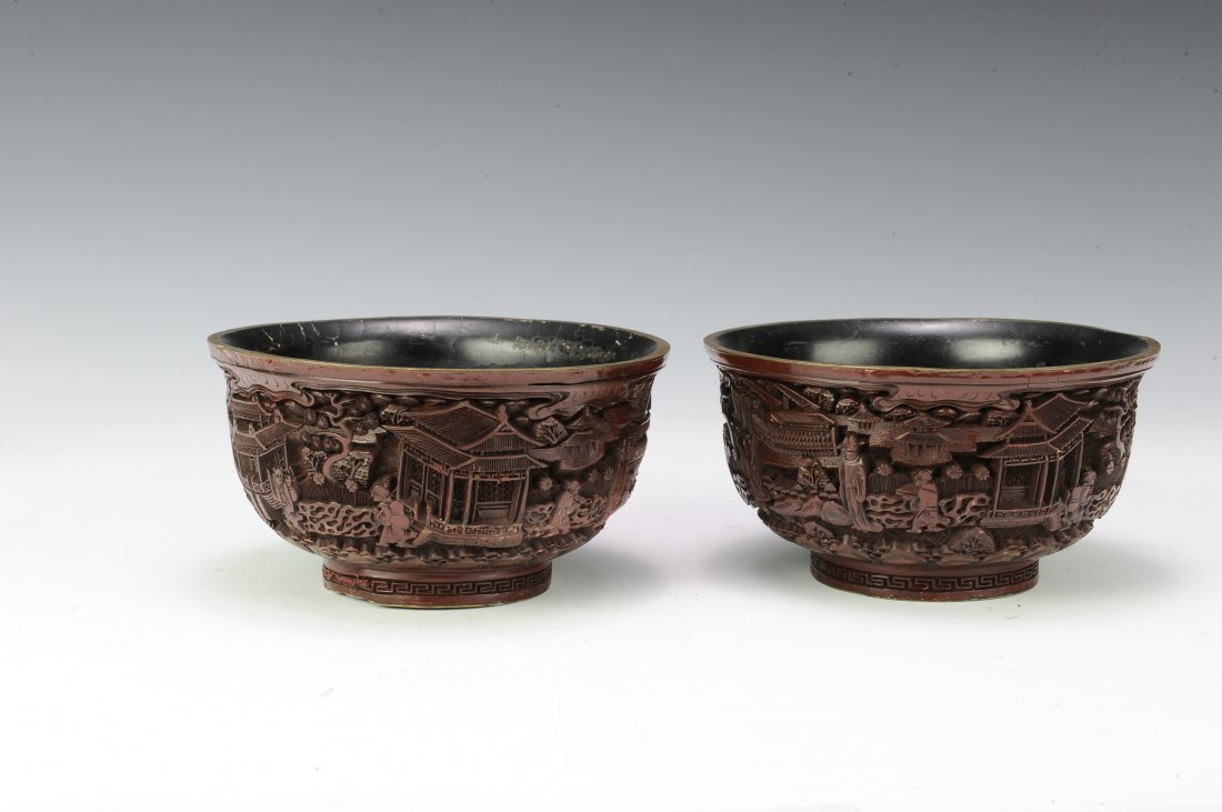Pair of Cinnabar Bowls - 3
