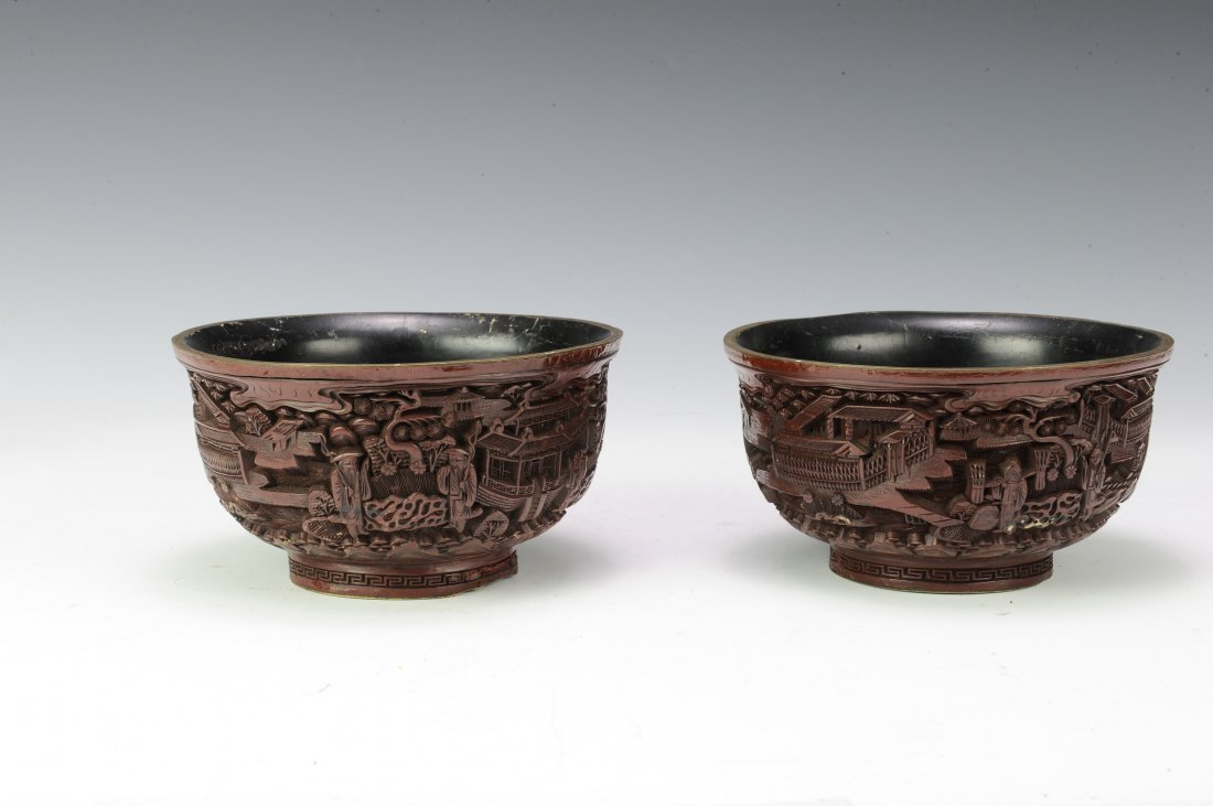 Pair of Cinnabar Bowls - 4