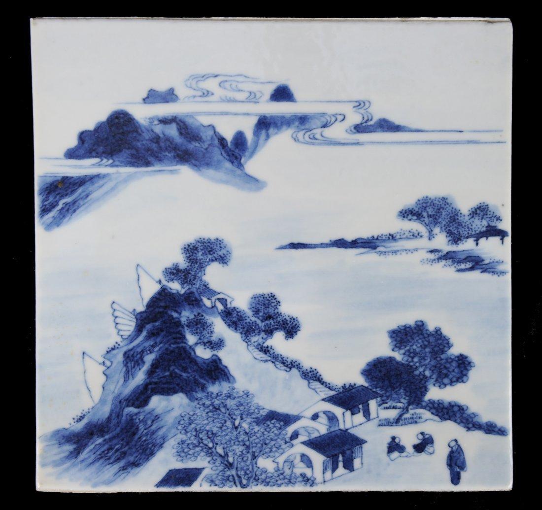 Blue & White Porcelain Plaque, 19th Century