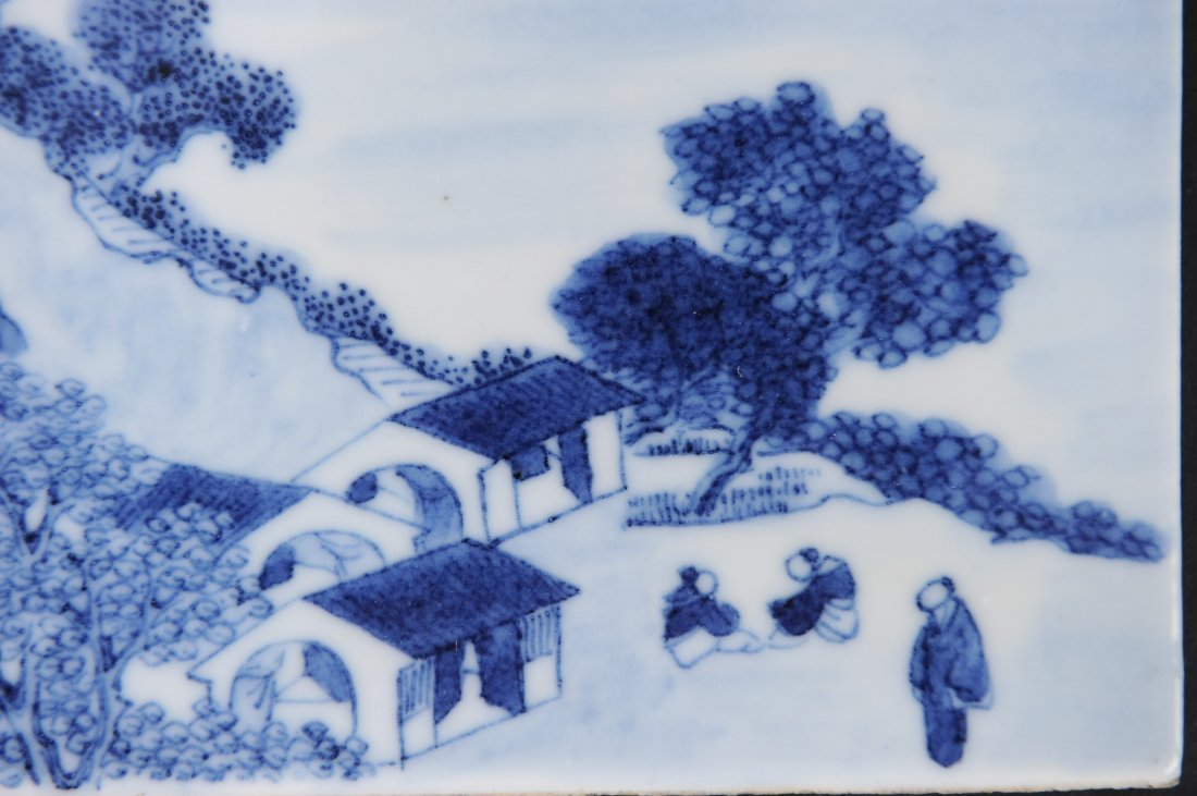 Blue & White Porcelain Plaque, 19th Century - 2