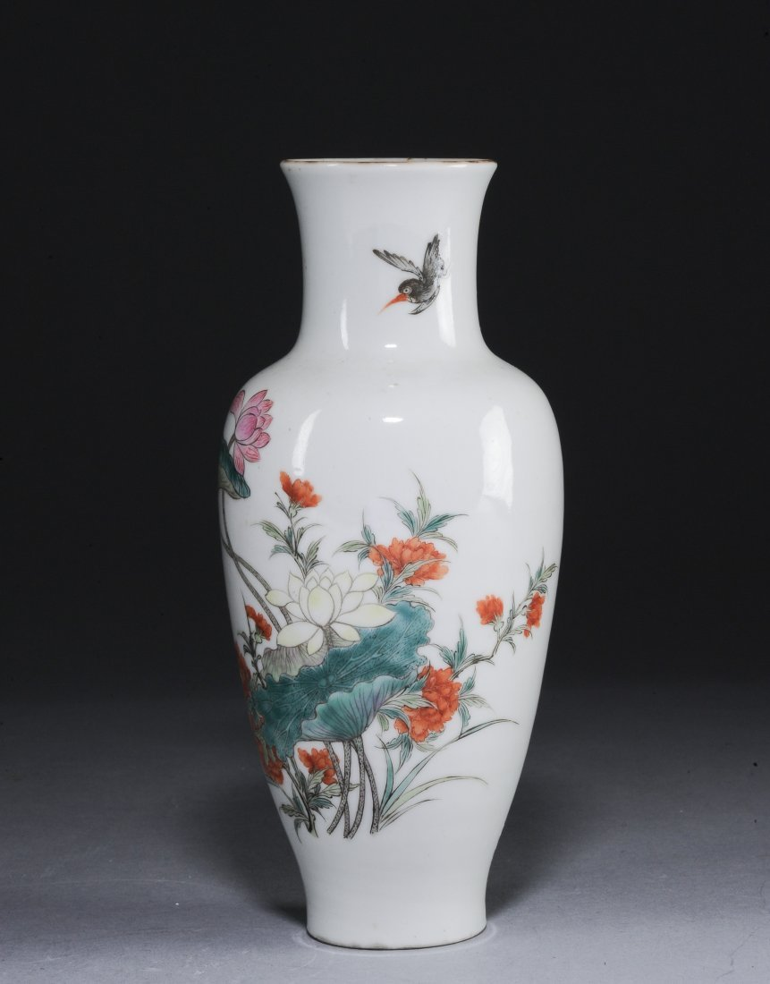 A Famille Rose Vase with Flowers, Republic Period