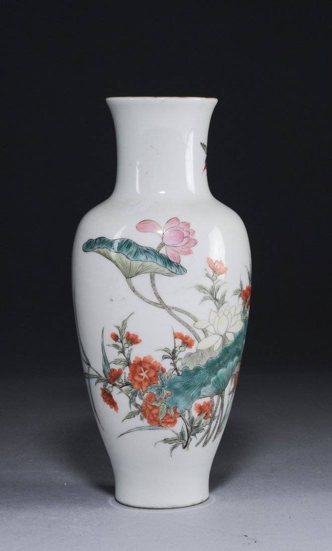 A Famille Rose Vase with Flowers, Republic Period - 2