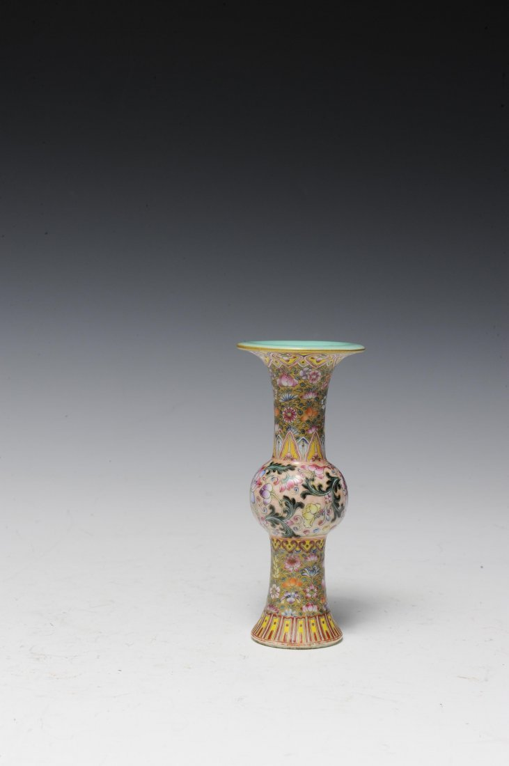 Small Famille Rose Gu Vase, Early 20th Century - 2