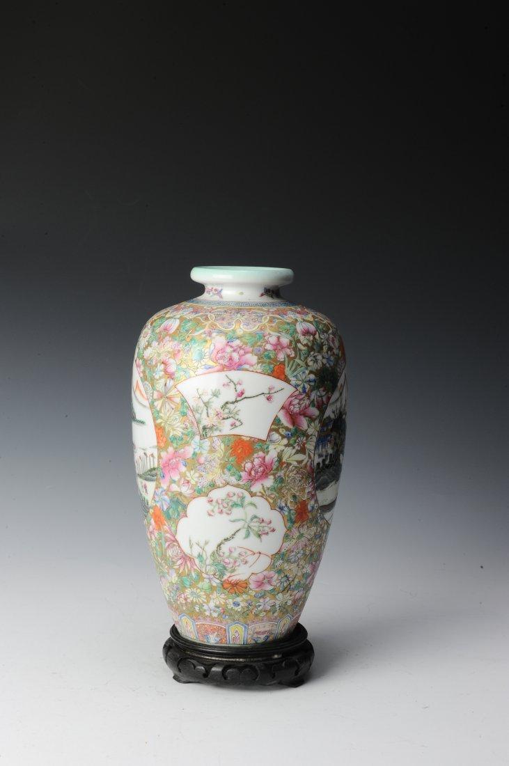 Millefleur Vase with Wooden Base - 2