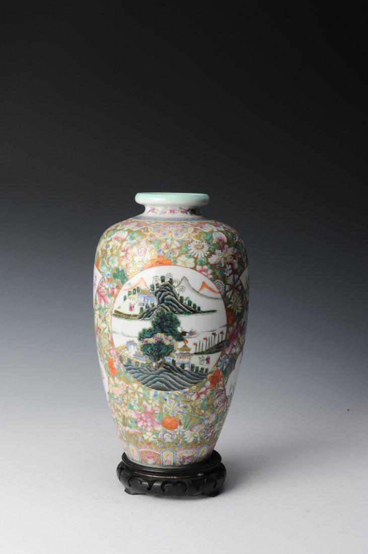 Millefleur Vase with Wooden Base - 3