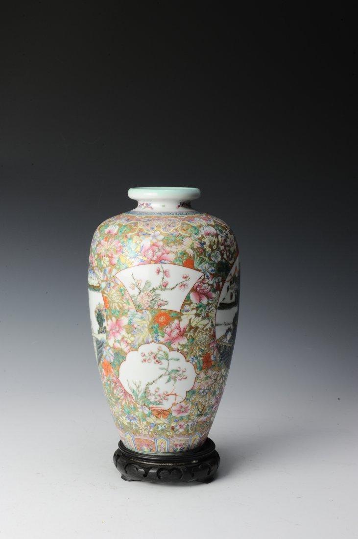 Millefleur Vase with Wooden Base - 4