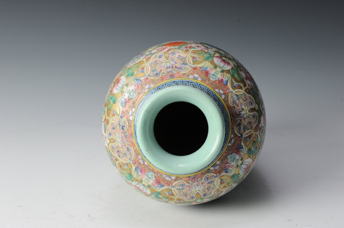 Millefleur Vase with Wooden Base - 5