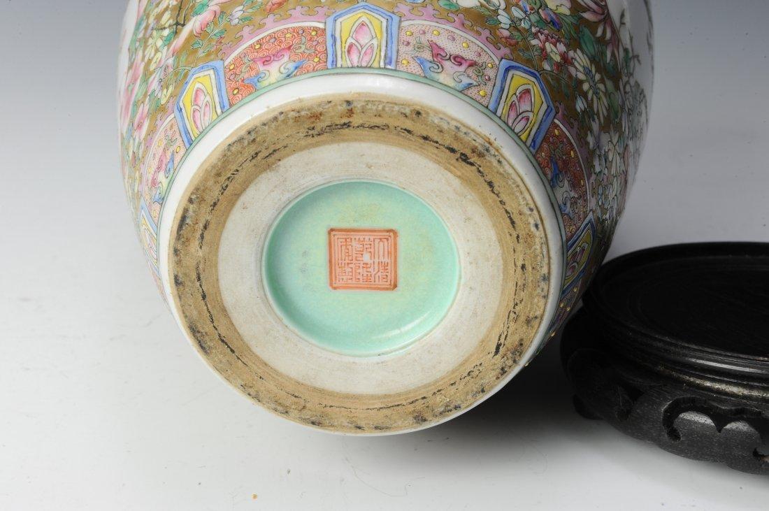 Millefleur Vase with Wooden Base - 6