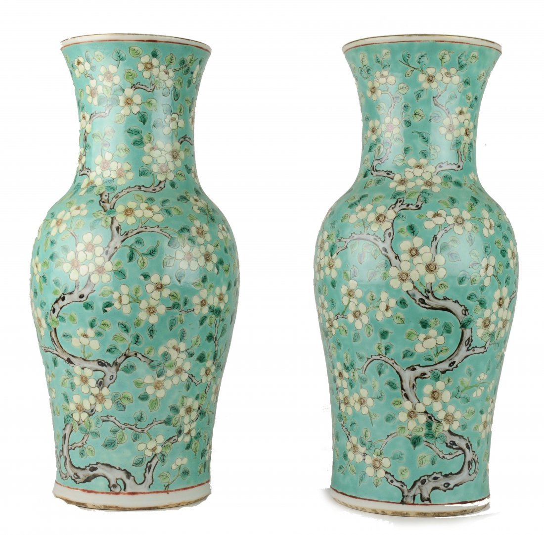 Two Green Ground Sancai Flower Vases, Late 19th C.