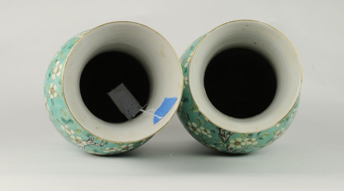 Two Green Ground Sancai Flower Vases, Late 19th C. - 3