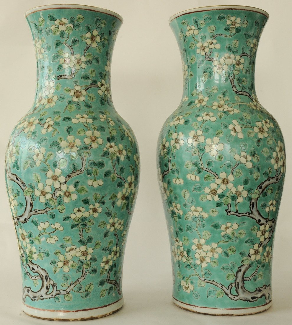Two Green Ground Sancai Flower Vases, Late 19th C. - 4