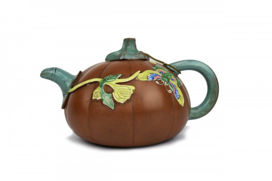 Yixing Pumpkin Form Teapot, 19th Century