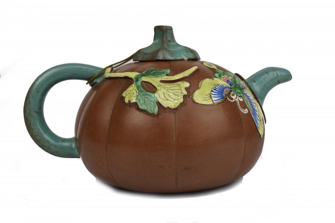 Yixing Pumpkin Form Teapot, 19th Century - 2