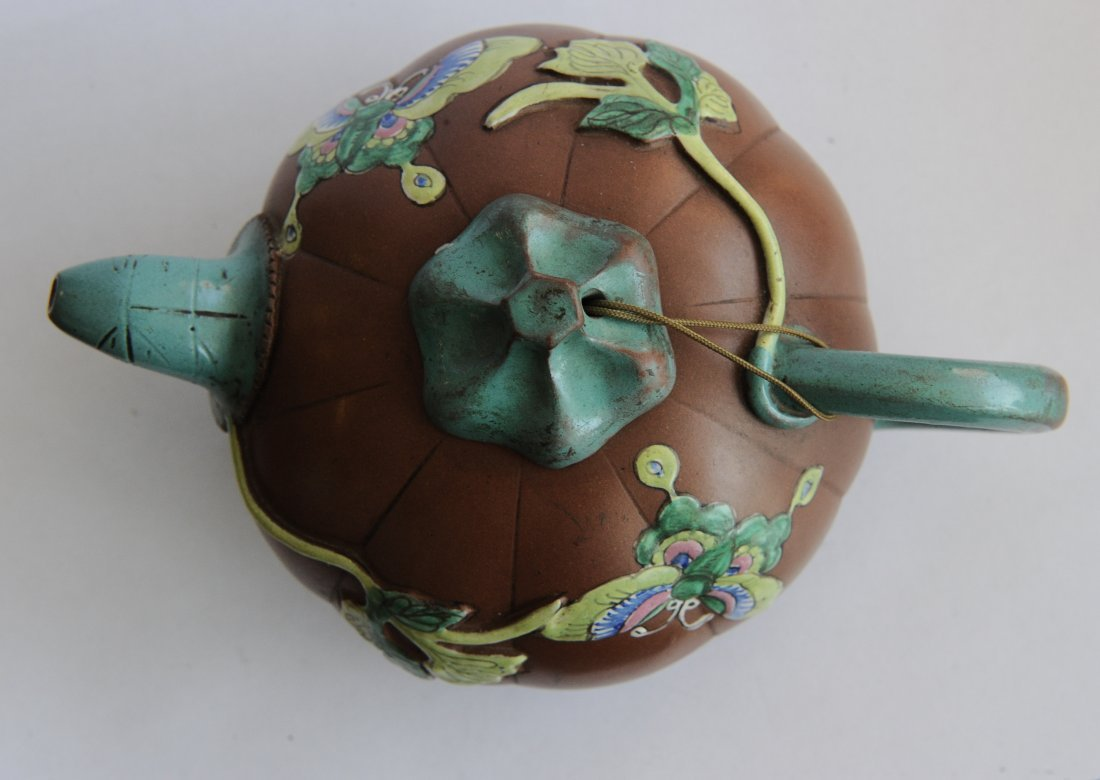 Yixing Pumpkin Form Teapot, 19th Century - 4