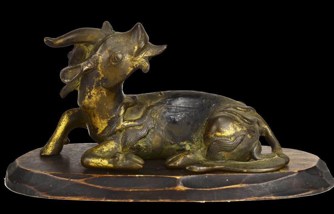 Gilded Bronze Single Horned Qilin, Ming Dynasty - 2