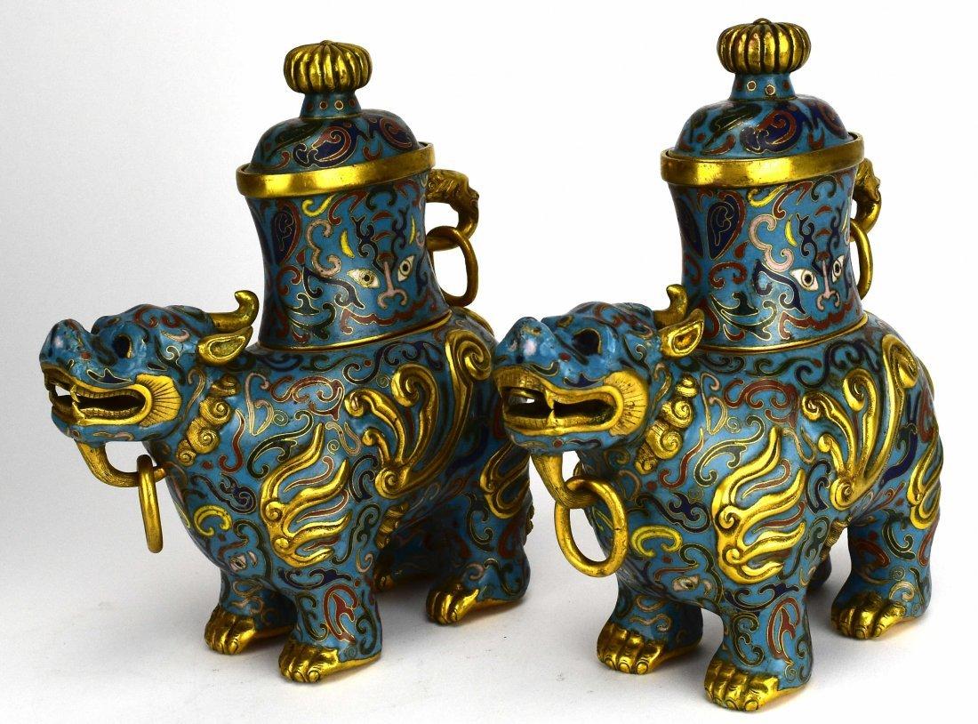 Pair of Cloisonné Qilin Vases, 20th Century