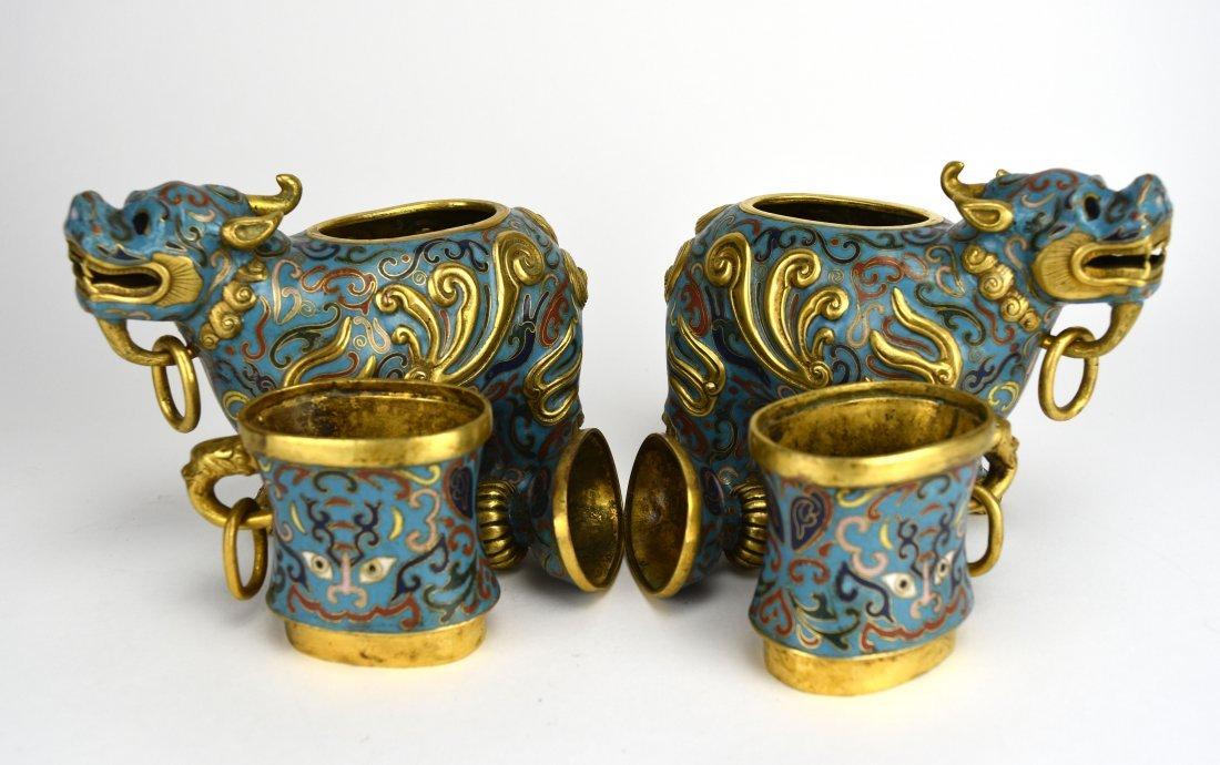 Pair of Cloisonné Qilin Vases, 20th Century - 2
