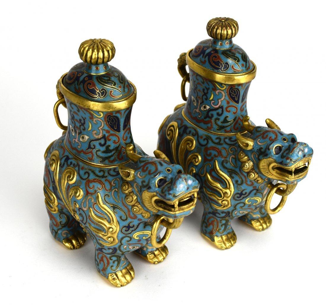 Pair of Cloisonné Qilin Vases, 20th Century - 4