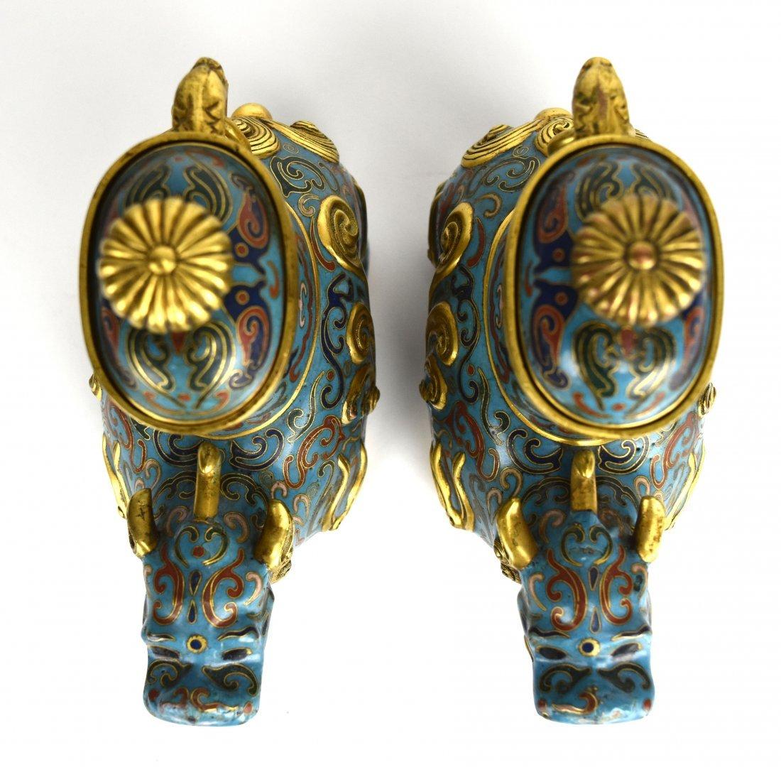 Pair of Cloisonné Qilin Vases, 20th Century - 5