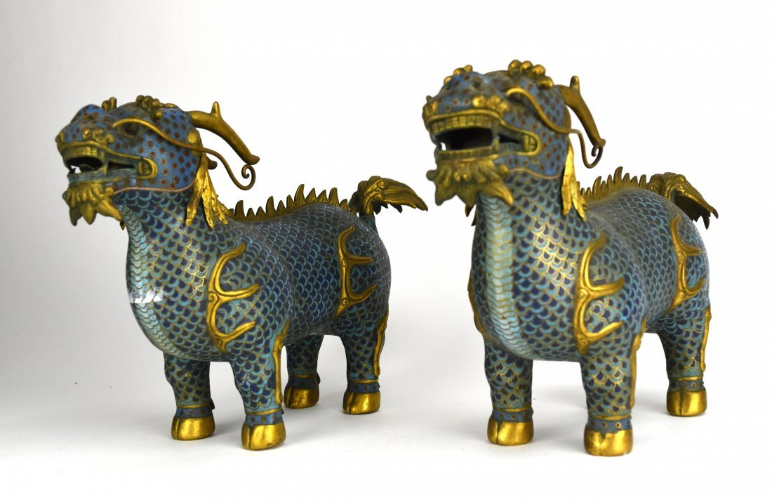 Two Cloisonné Qilin, Early 20th Century - 2
