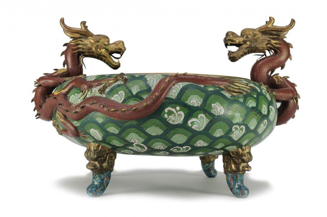 Large Two Dragon Cloisonné Incense Burner - 2