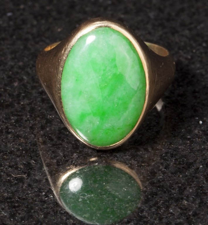 Gold & Jadeite Ring, Early 20th Century - 3