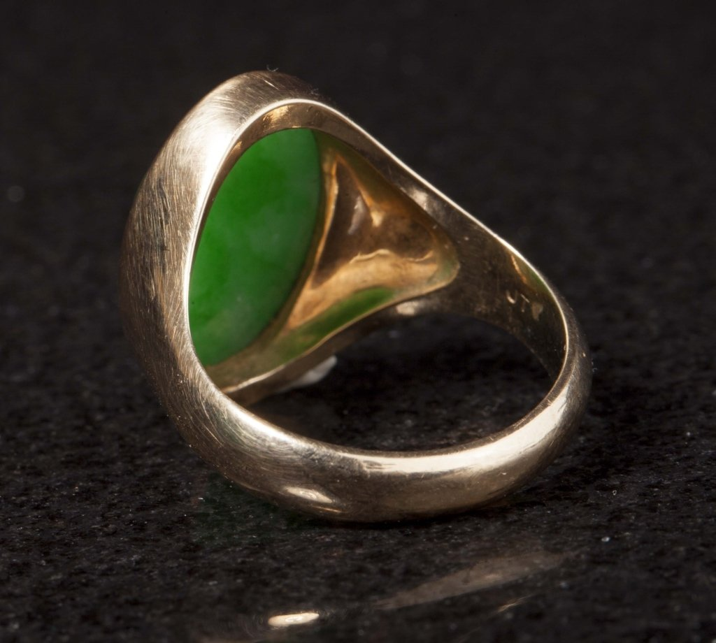 Gold & Jadeite Ring, Early 20th Century - 4