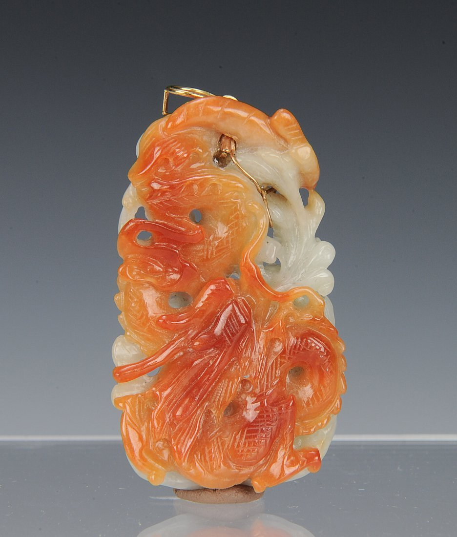 Brown & White Carved Jadeite Pendant, Early 20th C - 2