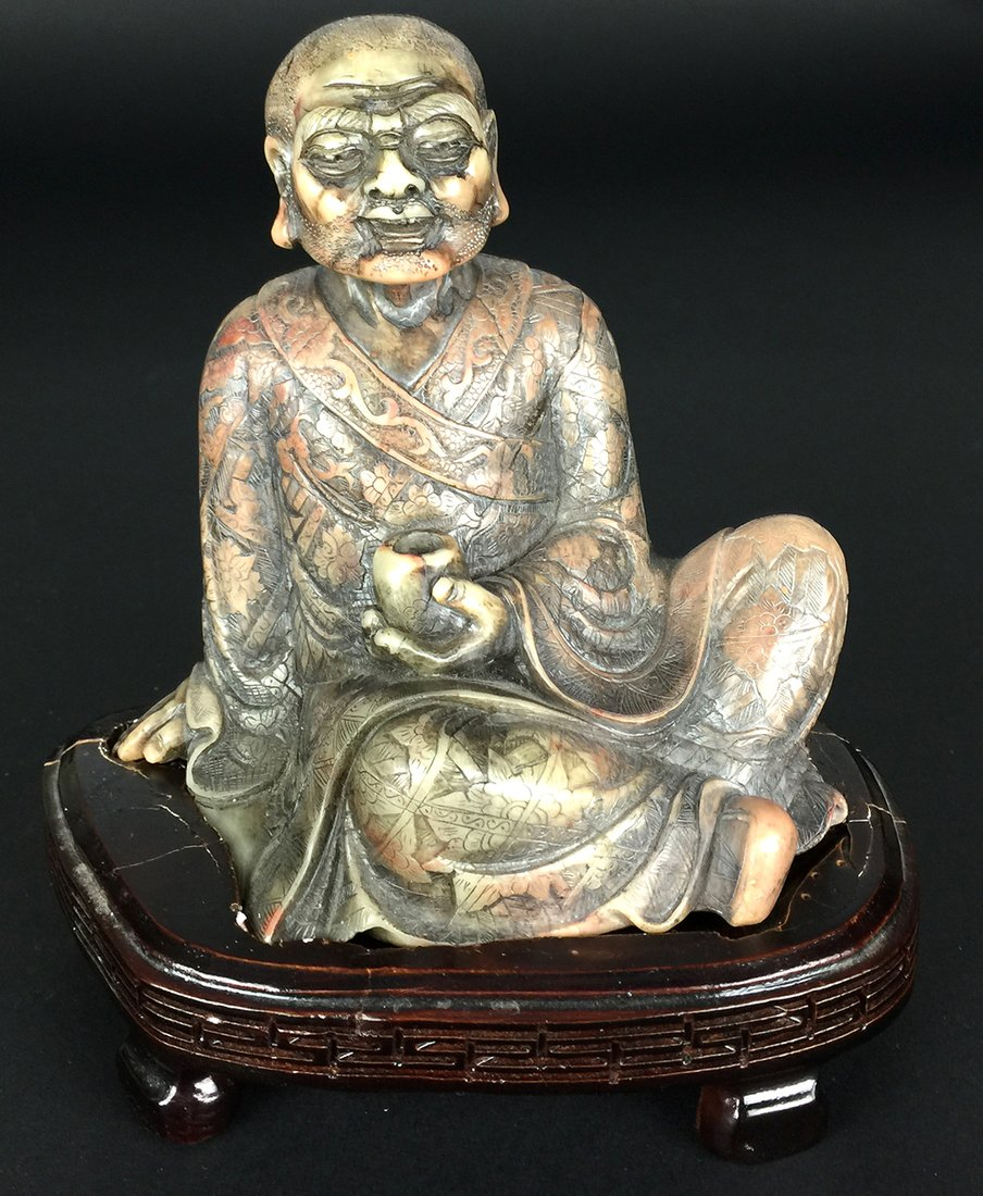 Seated Soapstone Lohan, 20th Century - 2