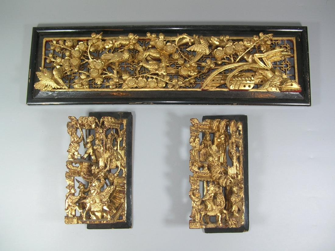 Three Antique Chinese Gilt Carved Wooden Panels
