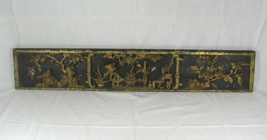 Antique Chinese Carved and Gilt Horizontal Wooden Panel
