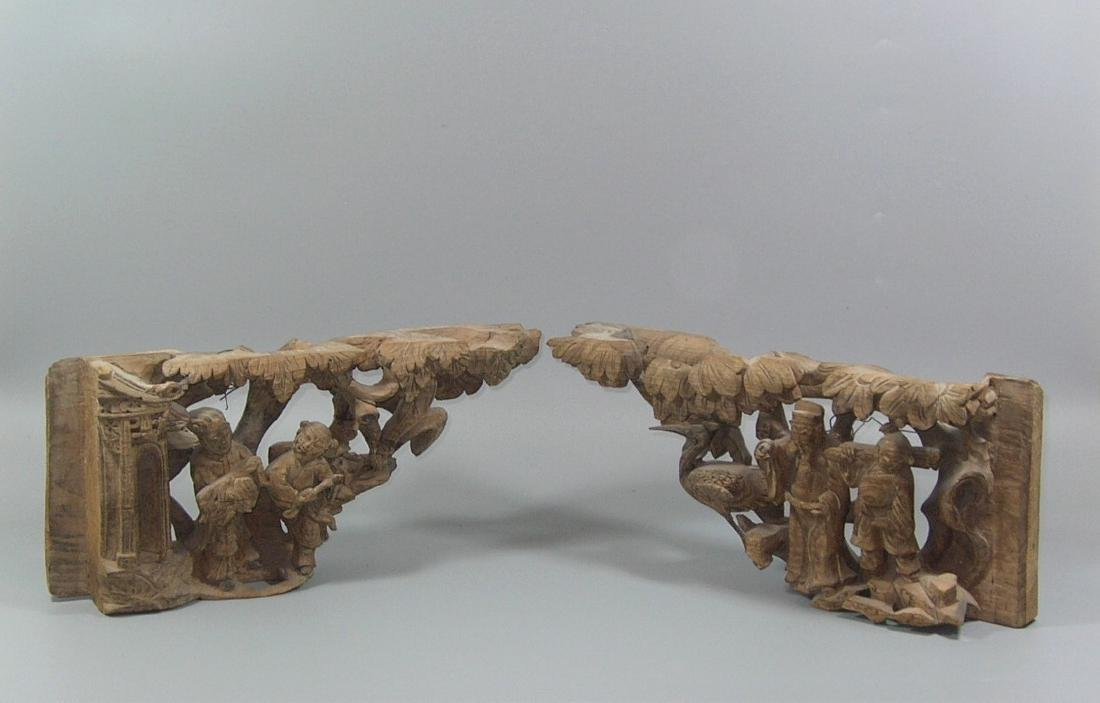 Pair of Antique Chinese Wooden Carvings