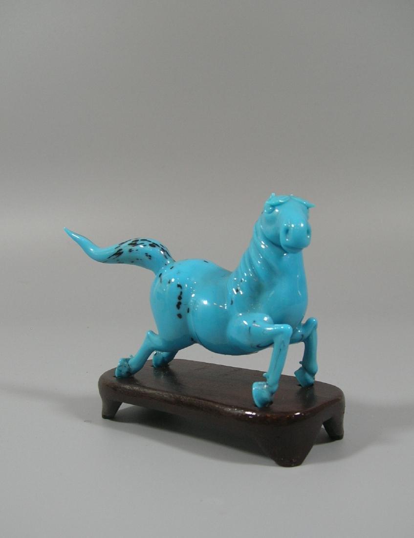 Unique Vintage Chinese Blue Beijing Glass Horse
