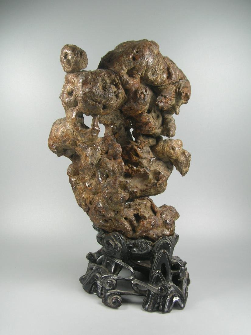 Antique Chinese Natural Burlwood Sanzi on Stand