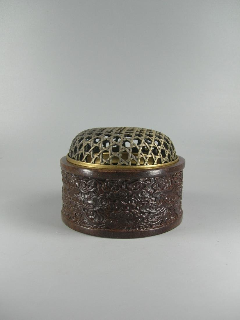 Small Carved Hardwood Incense Box with Brass Net-Form