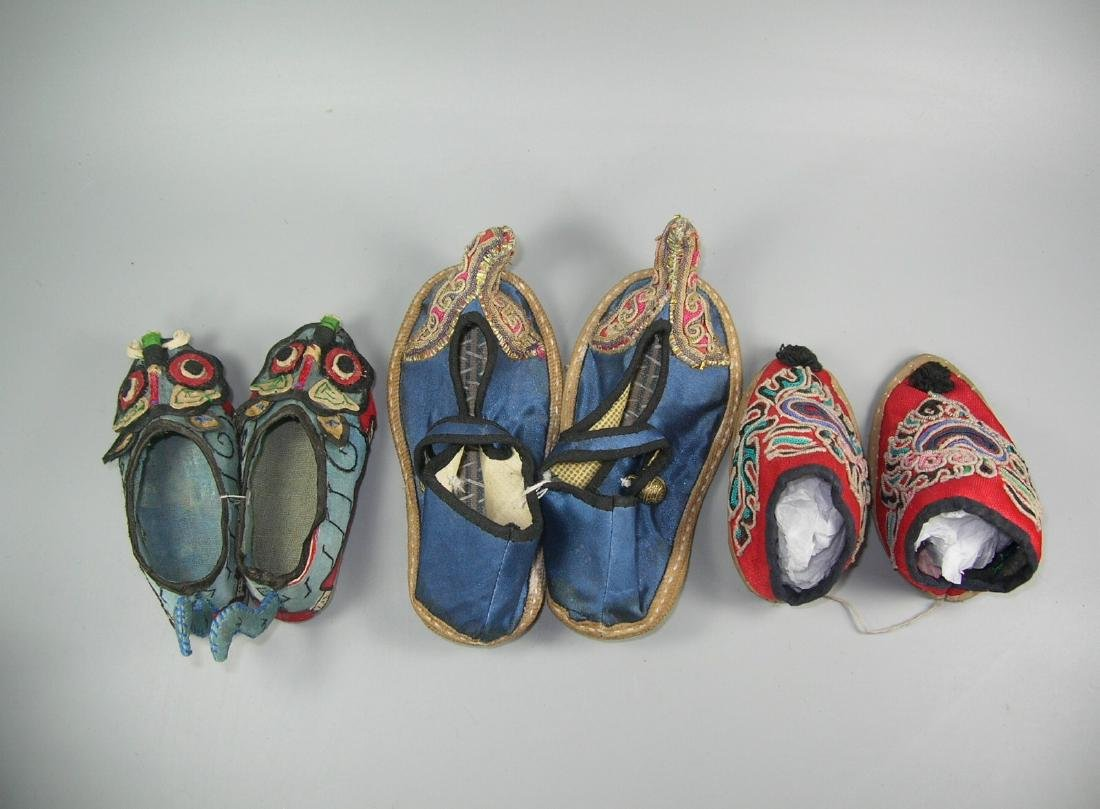 Three Pairs of Antique Chinese Baby Shoes