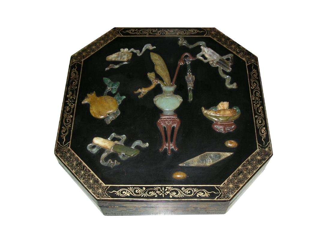 Vintage Chinese Black Lacquer and Hardstone Covered Box