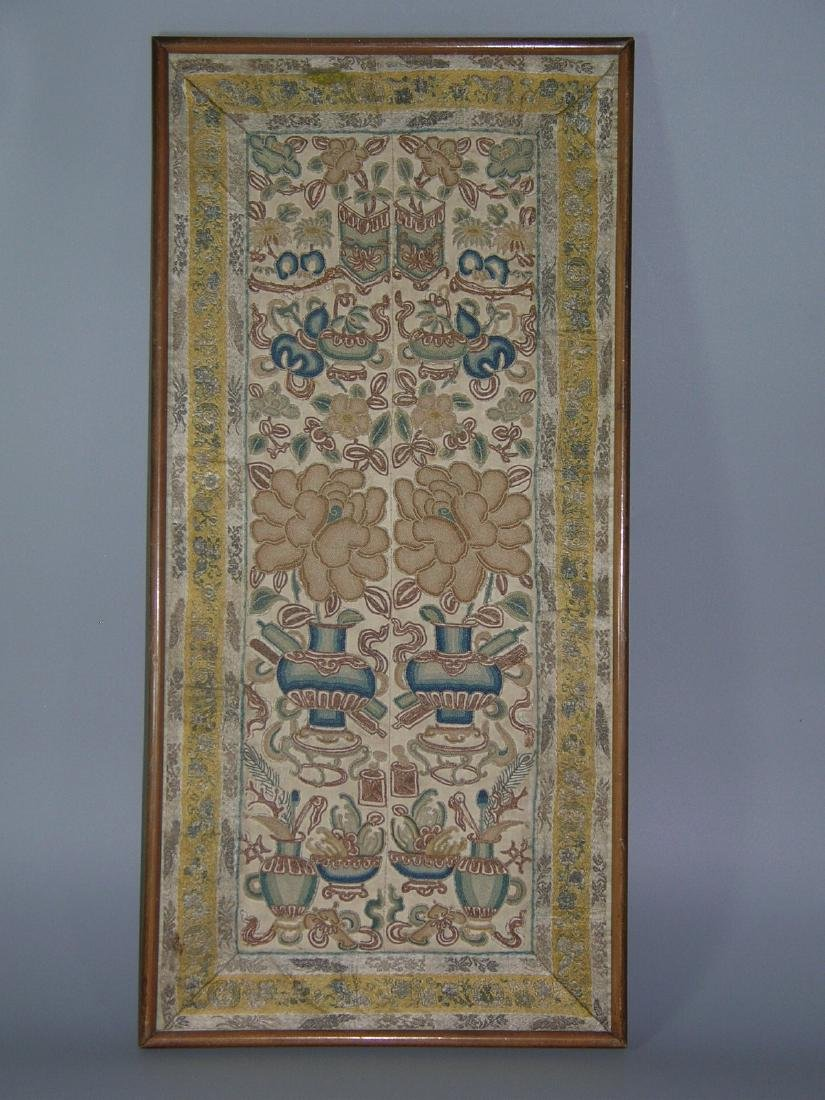 Small Antique Chinese Silk Embroidered Panel