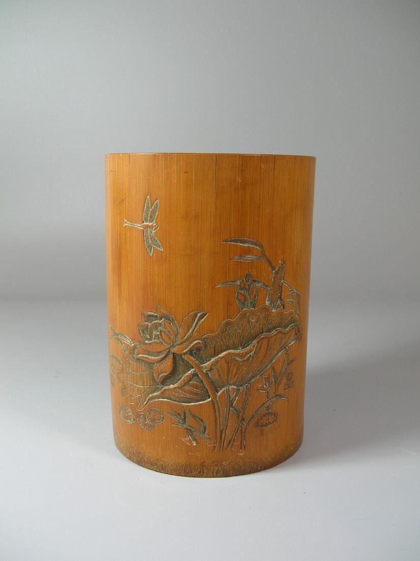 Antique Carved Bamboo Brush Pot Signed
