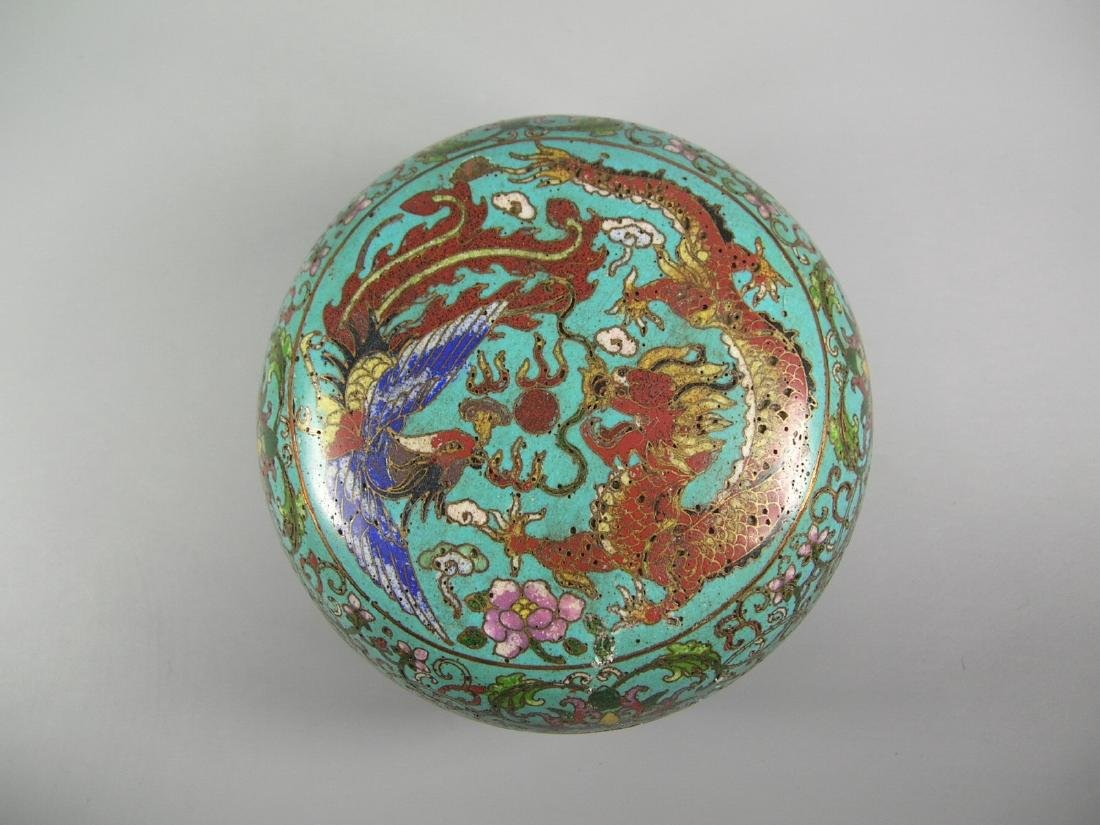 Chinese Cloisonne Covered Incense Box Mark