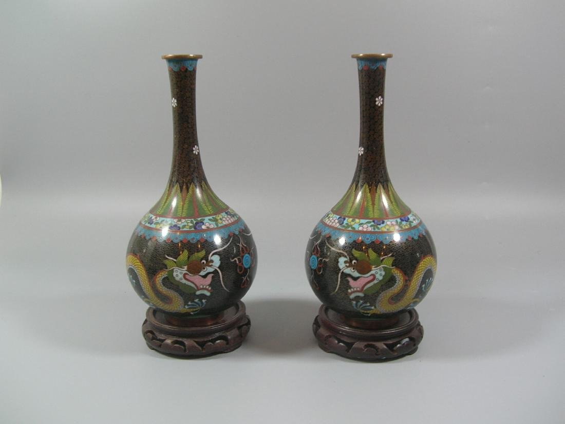 Pair of Chinese 'Dragon' Cloisonne Bottle Vases