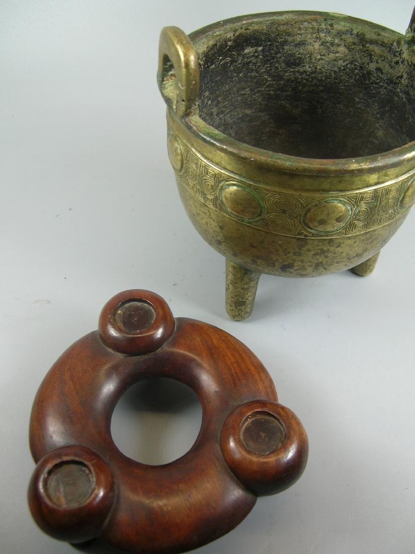 Small Antique Bronze Incense Burner Marked - 10