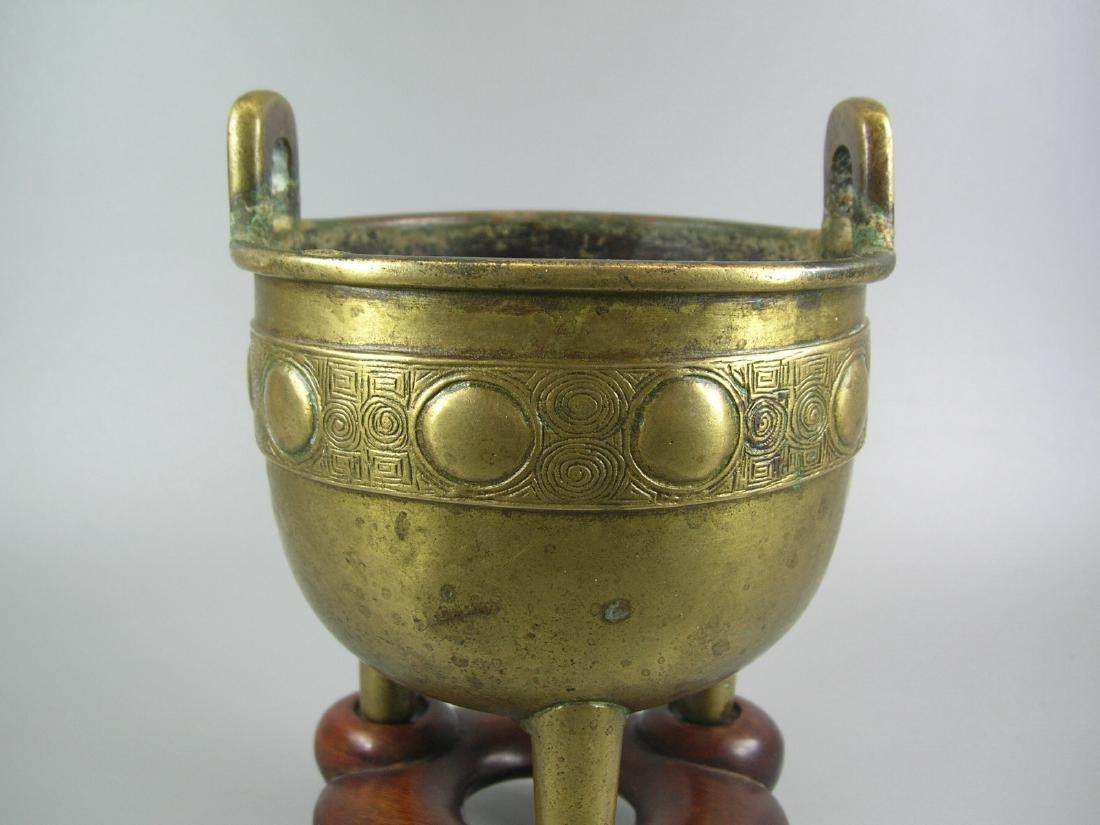 Small Antique Bronze Incense Burner Marked - 2