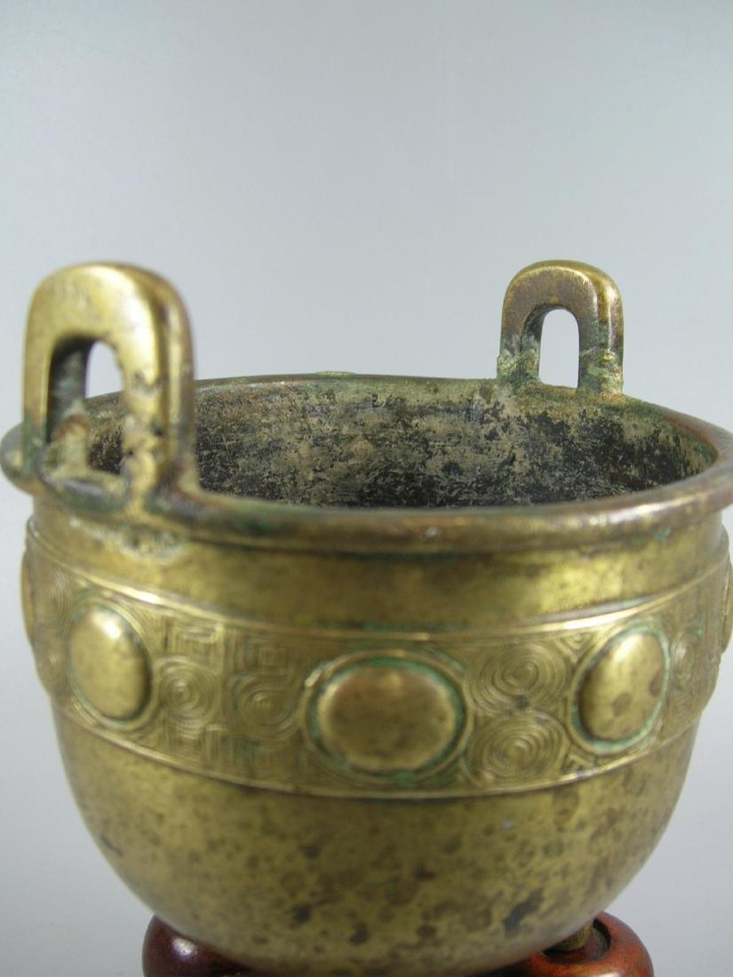 Small Antique Bronze Incense Burner Marked - 3