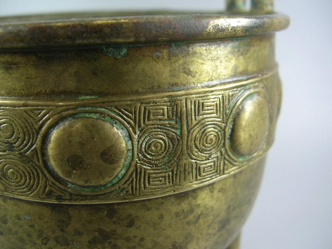 Small Antique Bronze Incense Burner Marked - 5