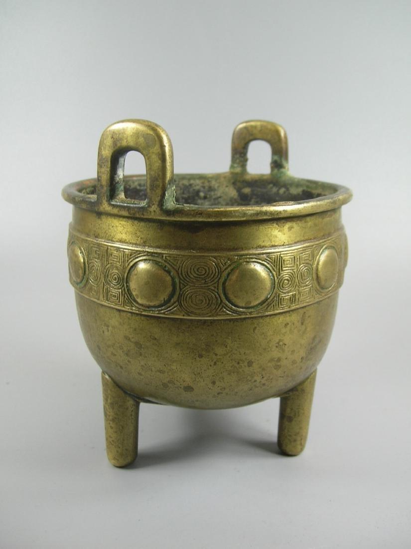 Small Antique Bronze Incense Burner Marked - 6