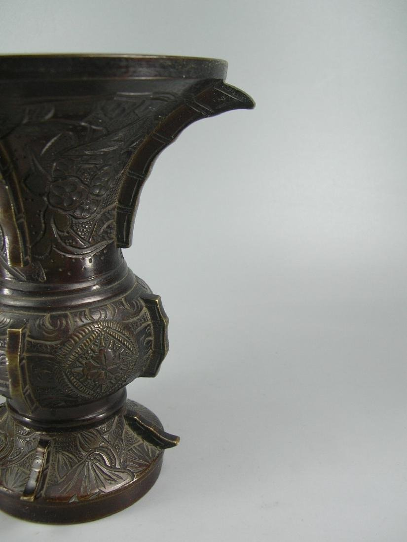 Pair of Small Antique Bronze Gu Vases - 10