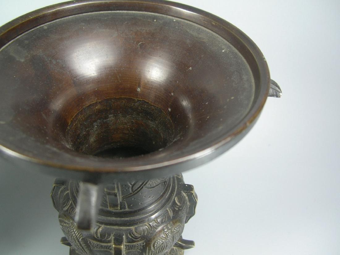 Pair of Small Antique Bronze Gu Vases - 4